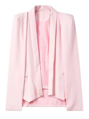 Shawl Neck Cape Design Pink Blazer