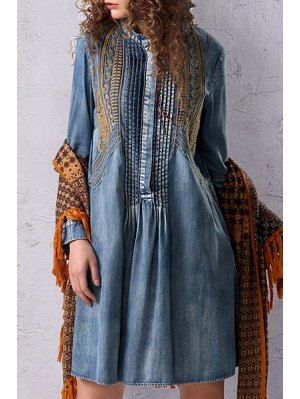 Stand Neck Embroidered Pleated Denim Dress - Light Blue