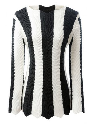 Black And White Striped Long Sleeve Jumper - White And Black
