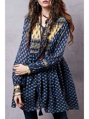 Long Sleeve Tiny Floral Tunic Dress - Blue