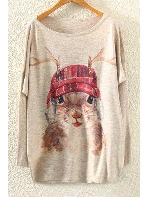 Squirrel Print Long Sleeve Jumper - Beige
