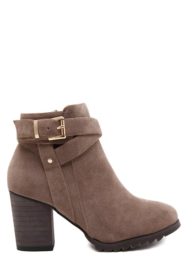 criss cross chunky heel suede ankle boots