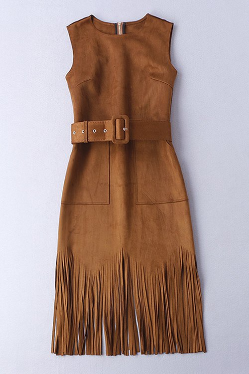Faux Suede Tassels Sleeveless Dress
