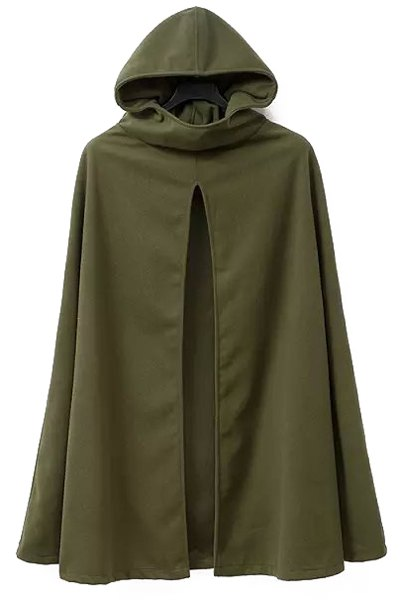 Hooded Cape Design Army Green Coat
