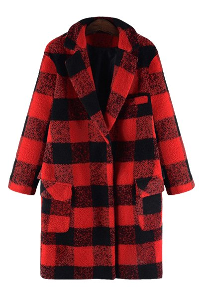 Turn-Down Collar Checked Woolen Coat
