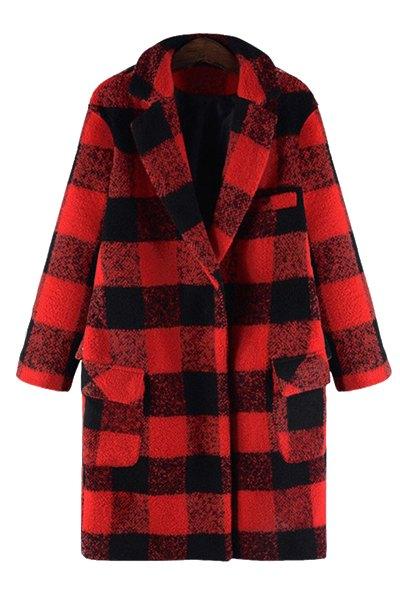 Checked Lapel Collar Cocoon Coat