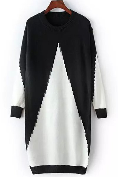 Black White Long Sleeve Sweater Dress