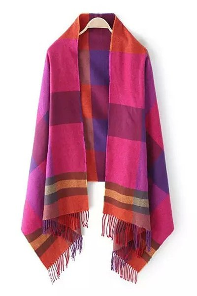 Colored Plaid Tassel Pashmina For Women