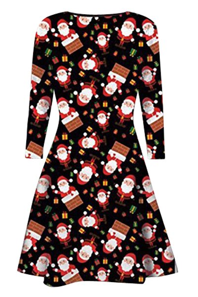 Christmas Gift Print Long Sleeve Dress