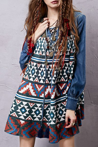V-Neck Long Sleeve Geometric Print Denim Dress