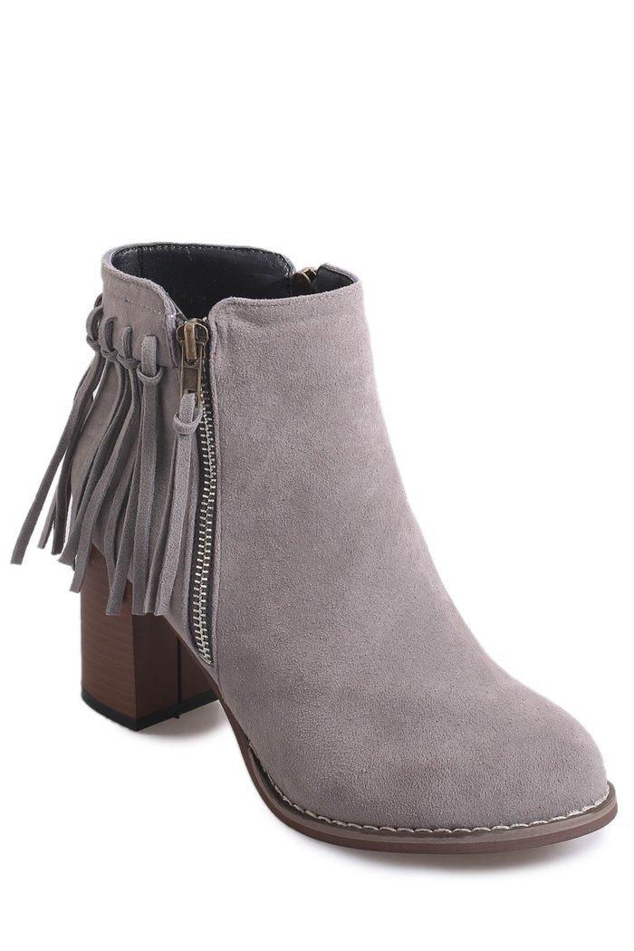 Chunky Heel Zipper Fringe Short Boots