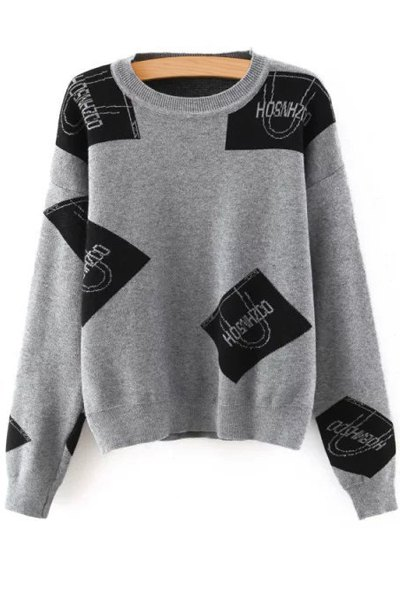 Buy Color Block Letter Print Round Neck Sweater GRAY ONE SIZE(FIT SIZE XS TO M)