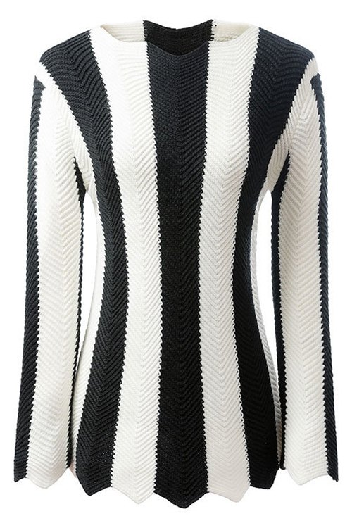 Black and White Striped Long Sleeve Jumper