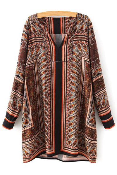 Retro Print V Neck Long Sleeve Loose Blouse