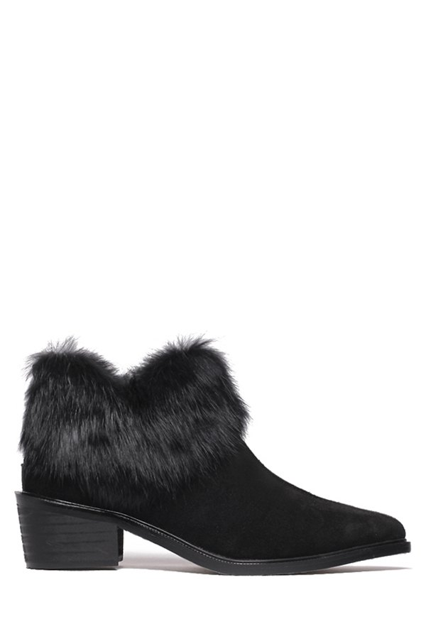 Buy Pointed Toe Faux Fur Suede Ankle Boots BLACK 39