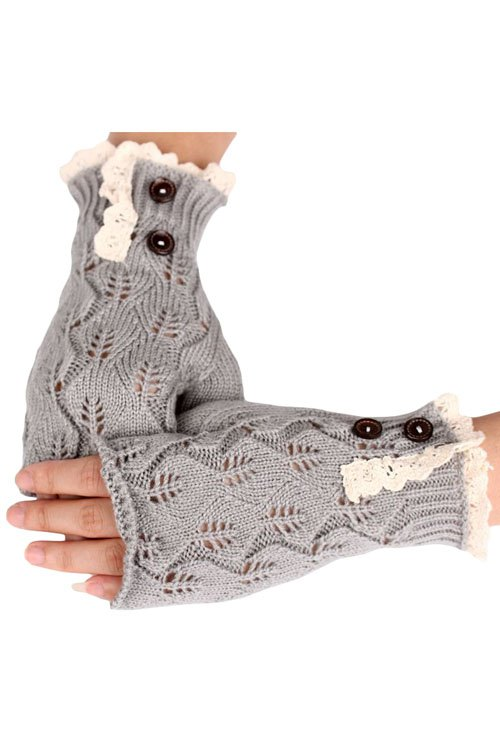Lace Button Hollow Out Knitted Fingerless Gloves