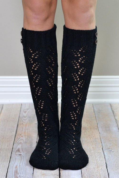 Button Hollow Out Knitted Stockings