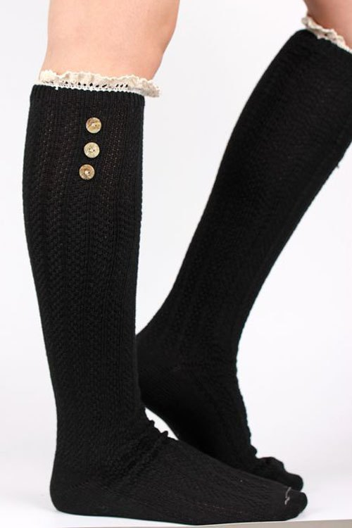 Button Lace Knitted Stockings