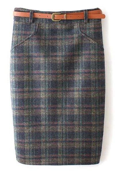 High Waist Plaid Pattern Skirt