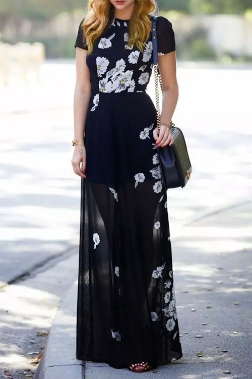 Short Sleeve Floral Print Black Dress