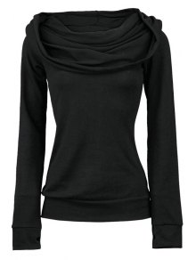 Long Sleeve Lace-Up Black Hoohie