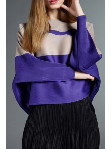 Color Block Round Collar Long Sleeves Cape Coat - COLORMIX ONE SIZE(FIT SIZE XS TO M)
