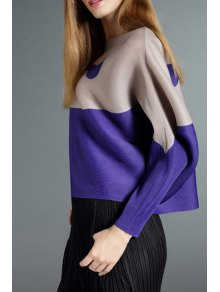 Color Block Round Collar Long Sleeves Cape Coat