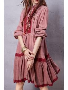 Lace Patchwork Drawstring Linen Dress