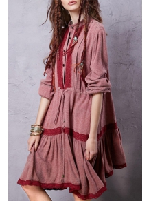 Lace Patchwork Drawstring Linen Dress - WINE RED S