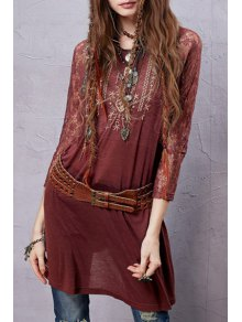 Lace Sleeve Embroidered Red T-Shirt