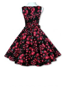 Floral Print A-Line Round Color Sleeveless Dress - BLACK XL