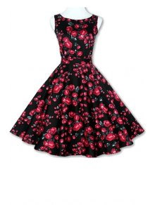 Floral Print A-Line Round Color Sleeveless Dress