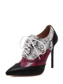 Snake Print Pointed Toe Ankle Boots - BLACK 35
