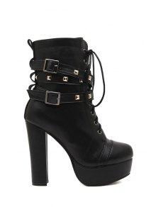 Black Rivet Platform High Heel Boots