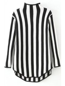 Stand Neck Vertical Stripes Sweater - Black