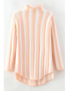 Stand Neck Vertical Stripes Sweater