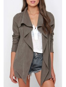 Long Sleeve Irregular Hem Trench Coat - Gray