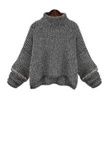 Turtle Neck Zippered Oversized Sweater