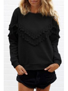 Long Sleeve Fringed Solid Color T-Shirt - Black