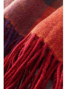 Colored Plaid Tassel Pashmina