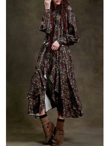 Lantern Sleeve High Slit Chiffon Dress