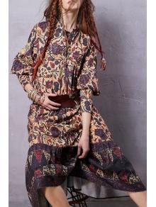 Lantern Sleeve Floral Print Midi Dress