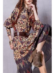Lantern Sleeve Floral Print Midi Dress - COLORMIX S