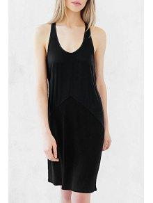 Black U Neck Sleeveless Sundress - Black 2xl