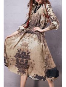 Lantern Sleeve Printed Midi Dress