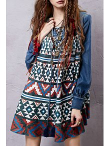 Tribal Print Mini Long Sleeve Swing Dress - Blue