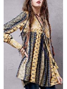 Long Sleeve High-Waisted Tunic Dress - YELLOW M