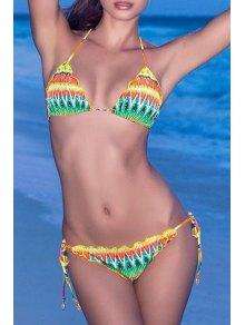Colored Print Halter Lace Up Bikini Set