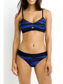 Striped Print Cami Bikini Set - Blue