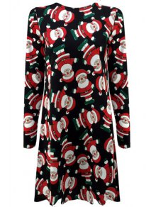 Father Christmas Print Long Sleeve Dress